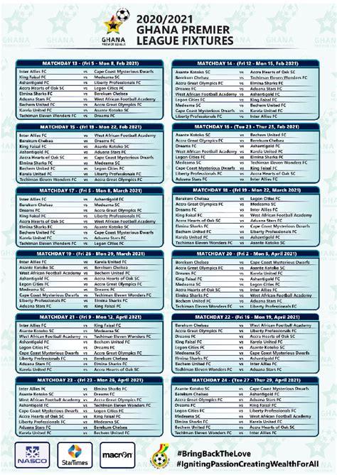 Full list: 2020/21 Ghana Premier League fixtures