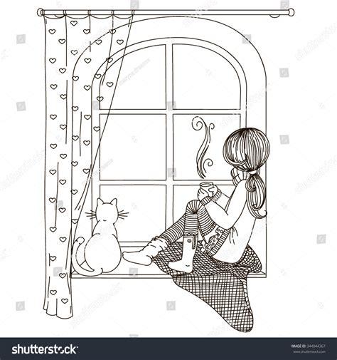 girl sitting  windowsill   stock vector