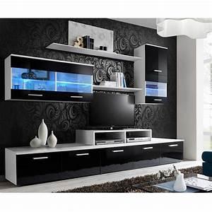 Meuble Design Tv Mural : meuble tv mural design 39 logo 250cm noir blanc ~ Teatrodelosmanantiales.com Idées de Décoration