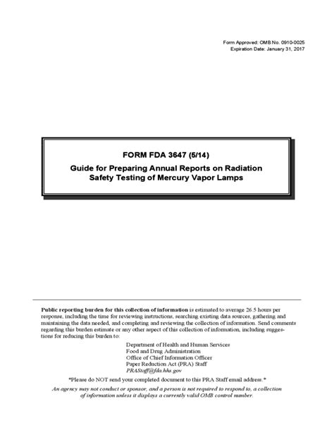 Form FDA 3647 - Annual Reports on Radiation Safety Testing