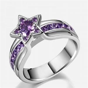 Star shaped purple diamond engagement ring evermarker for Star shaped wedding rings