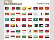 Postage stamp with Asia flags Set of 48 Asian flag