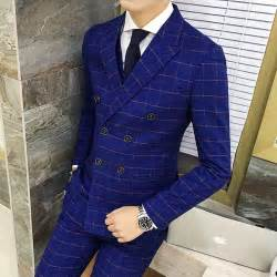 costume homme mariage the breasted plaid suit 2016 new autumn winter royal blue groom tuxedo costume homme
