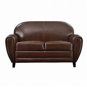 Canape club 2 places cuir marron commandez nos canapes for Achat canapé 2 places