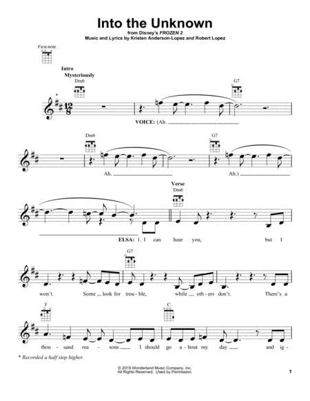 Into the unknown is a song recorded by idina menzel and aurora from the 2019 disney film frozen ii. Into The Unknown (from Disney's Frozen 2) By - Digital Sheet Music For Ukulele (Download & Print ...