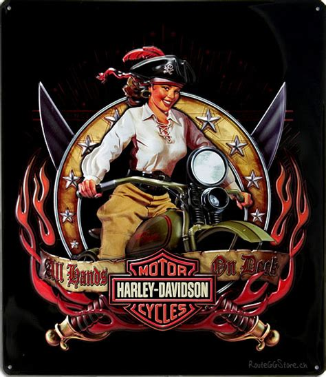 route  store harley davidson pirate rider pin  girl