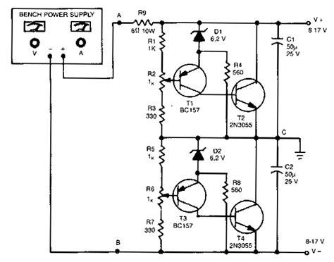 Simple Unipolar Dual Supply Converter Circuit Diagram