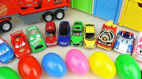 Cars Truck And Surprise Eggs With Robocar Poli Carbot Car