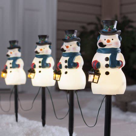 holiday time  piece vintage snowman pathway christmas