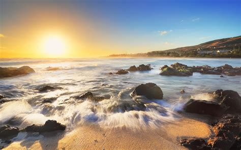 wallpaper sunrise morning beach  nature  wallpaper  iphone android mobile