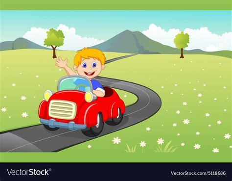 Cartoon Boy Driving Red Car Royalty Free Vector Image