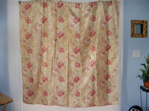 fabric shower curtain gold ivory pink green