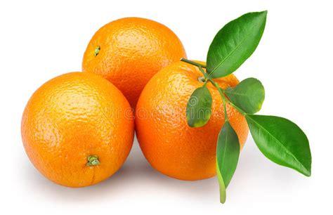 Orange Fruits With Leaves Isolated White Background