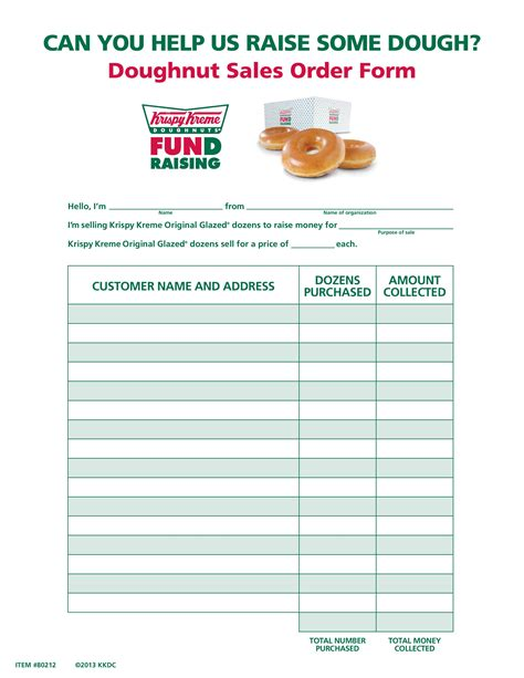Traditional Doughnut Sales Form | Krispy Kreme