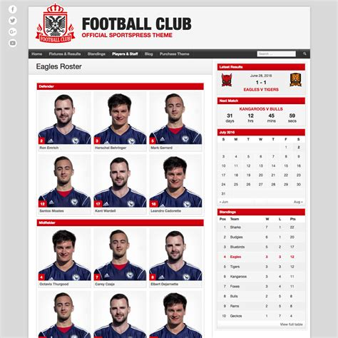 Soccer Player Profile Template by Football Club Premium Theme For Soccer Teams