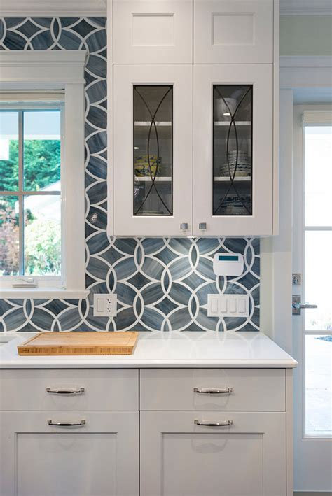 White Kitchen With Blue Gray Backsplash Tile  Home Bunch