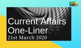 Current Affairs One-Liner: 21st March 2020 - BankExamsToday