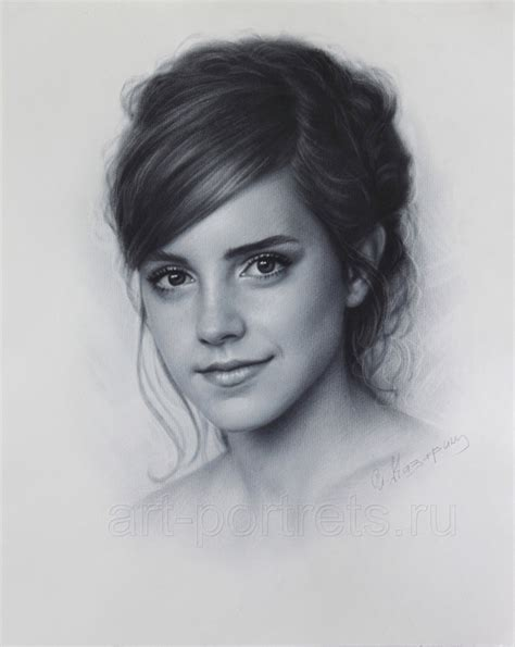 emma watson drawing portrait  dry brush  drawing