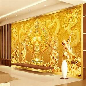 Gold Buddha Photo wallpaper Custom 3D Wall Mural ...