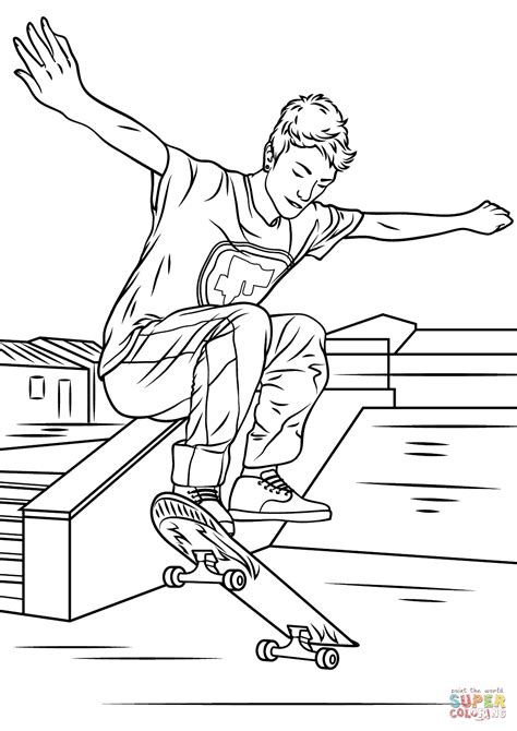skateboarding trick coloring page  printable coloring pages