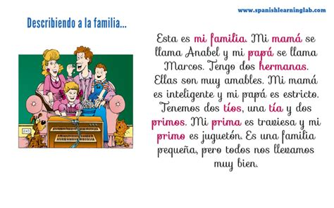 la familia describing  family  spanish