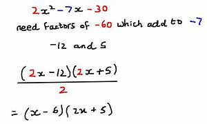 Factorisation Of Quadratic Expressions