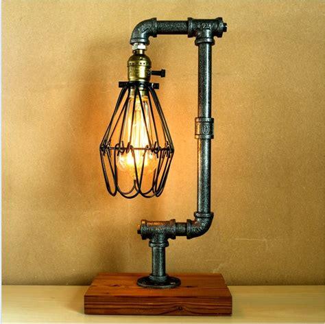 edison bulb table l vintage industrial retro style steel pipe desk table l