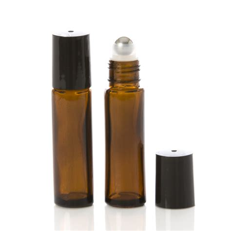 All free mockups include smart objects for easy edit. 10 ml Amber Glass Rollerball Bottle with Black Cap ...