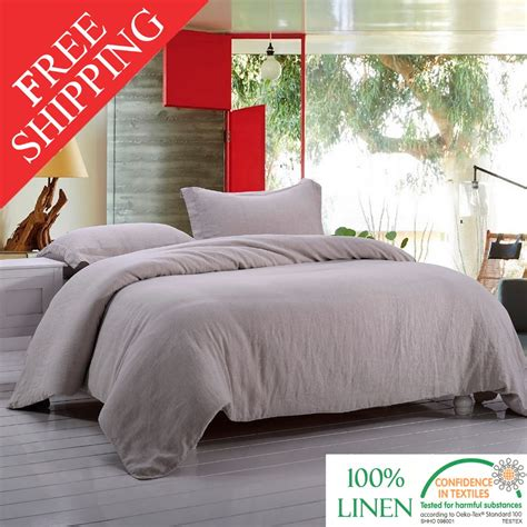 Stone Washed 100% Linen Bedding Set Incluidng 1 Duvet