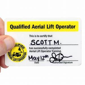qualified aerial lift operator hard hat decals with With scissor lift certification card