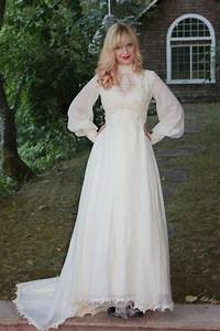 hand crafted vintage 1960s 70s wedding dress in silk With 70s wedding dress