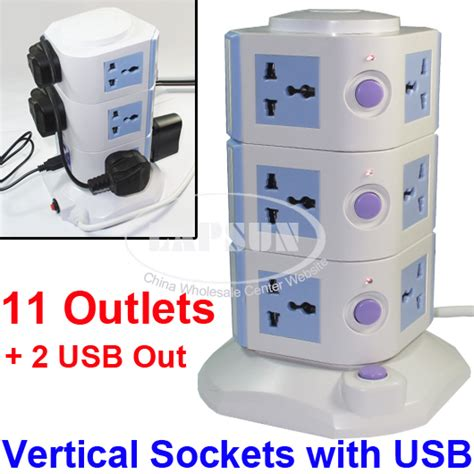 11 Ways Power Strip Multi Switched Vertical Socket Outlet