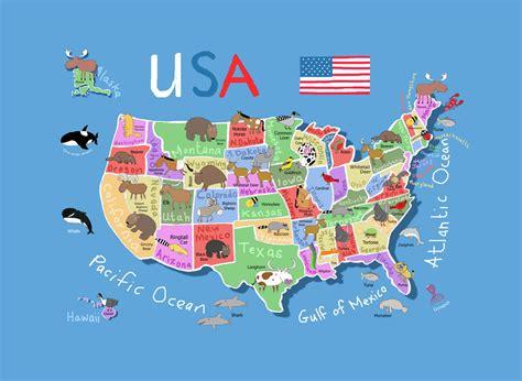 detailed cartoon map   usa usa maps   usa