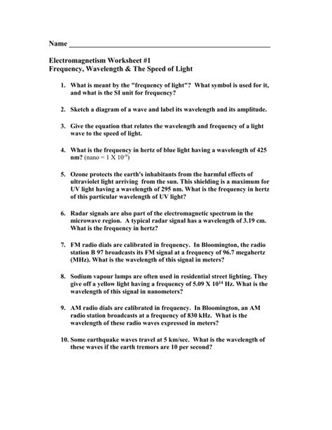 speed of light worksheet worksheet wavelength and frequency worksheet grass fedjp