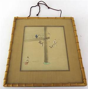 Vintage Signed Chinese Watercolor in Bamboo Frame from ...