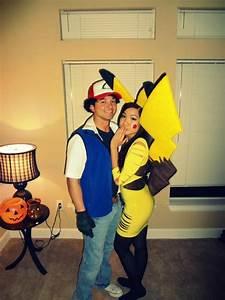 Halloween couple homemade costumes pikachu and ash ...
