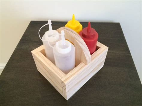 On sunday mornings heather & i have this little routine. Wood Condiment Caddy Small Square-ish Shape in 2020   Condiment caddy, Spice holder, Woodworking ...