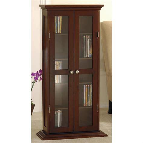 Winsome Antique Walnut Finish Cd Dvd Storage Cabinet