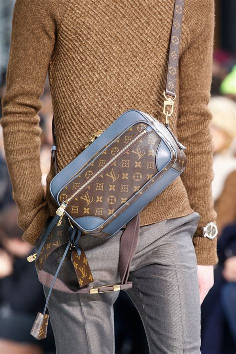 louis vuitton mens fall winter  runway bags featuring damier graphite nemeth print