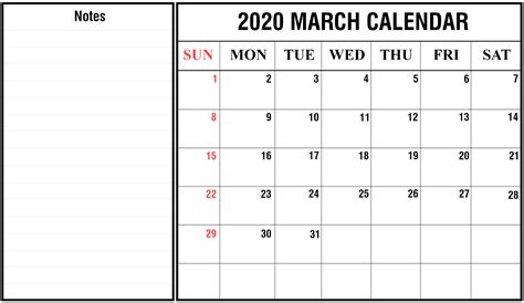 printable march calendar blank template editable