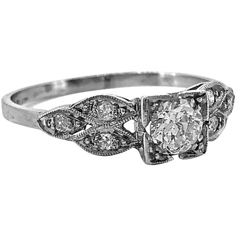 art deco ct diamond antique engagement ring platinum