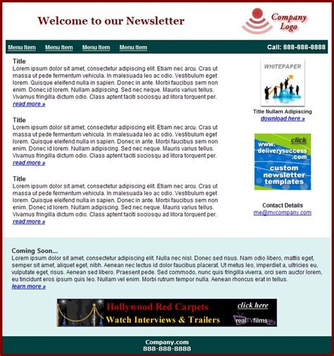 Newsletter Templates For Outlook by Free Email Newsletter Templates For Outlook