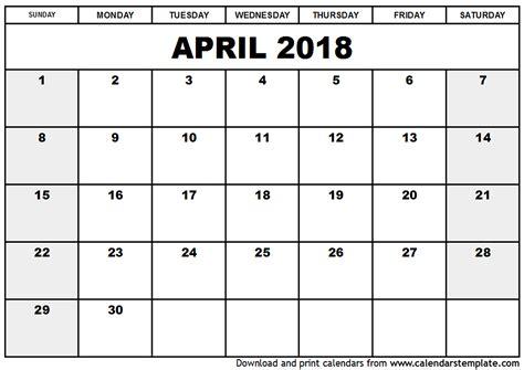 2018 calendar template pdf april 2018 calendar pdf calendar template excel