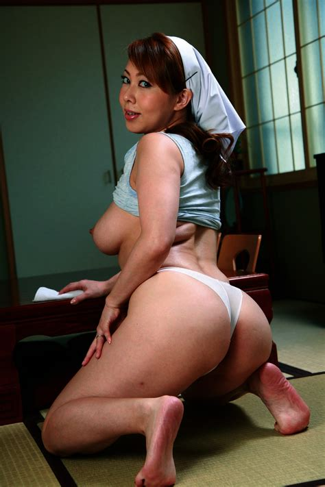 1girl Apron Asian Ass Back Backboob Breasts Brown Hair