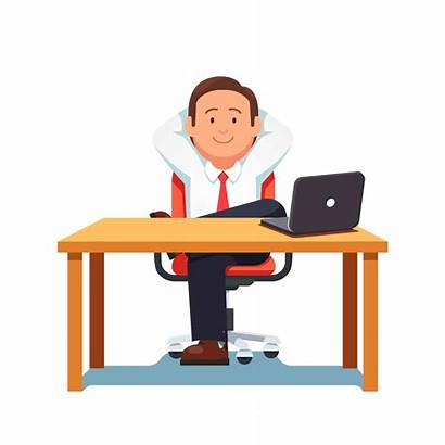 Sitting Desk Cartoon Relaxed Confident Clipart Marketing