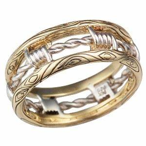 yellow gold barbed wire wedding band With barb wire wedding rings