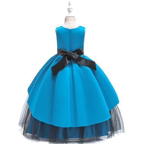 Gara meiteņu kleita. Zila svētku kleita Alise - Bazilio