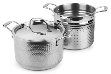 lagostina martellata tri ply hammered stainless steel pastaiola  quart cutlery