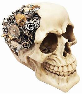 Steampunk Skull with Gear Machinery Brain Figurine