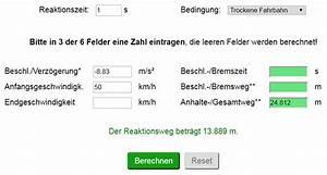 Autowert Berechnen : bremswegrechner bremsweg anhalteweg berechnen strommer johannes ~ Themetempest.com Abrechnung